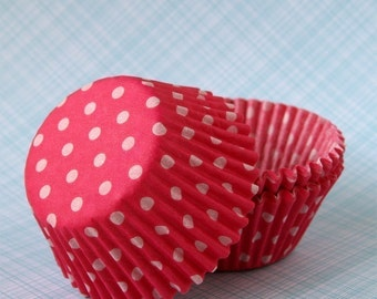 Pink Polka Dot Cupcake Liners, Pink Dot Cupcake Liners, Spring Cupcake Liners, Pink Baking Cups (50)