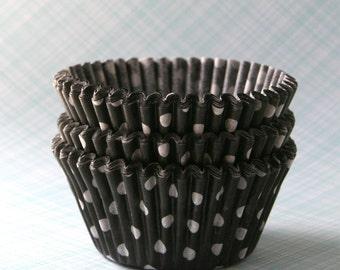 Black Polka Dot Cupcake Liners, Halloween Cupcake Liners, Black Cupcake Liners (45 count)