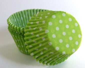 Lime Green Polka Dot Cupcake Liners, Lime Green Dot Baking Cup, Spring Cupcake Liners (50)