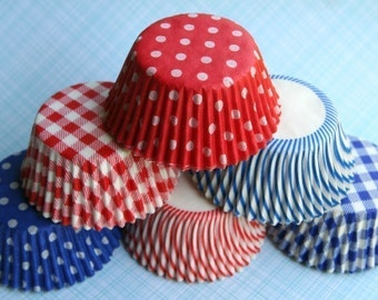 Red, White and Blue Mix Cupcake Liners (60)