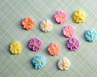 Small Royal Icing Daisies to Decorate Cupcakes or Cakes (24)