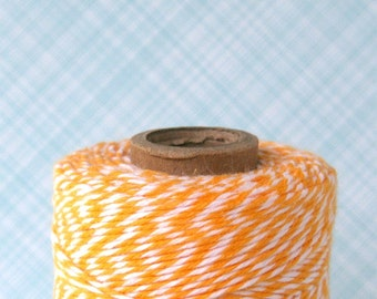 Yellow Bakers Twine - Lemondrop Yellow and White Striped Bakers Twine (240 yard spool)