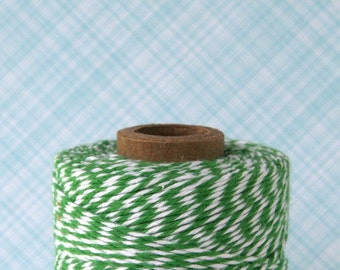 Green Baker's Twine, Christmas Gift Wrap, Green and White Striped Bakery String (240 yards)