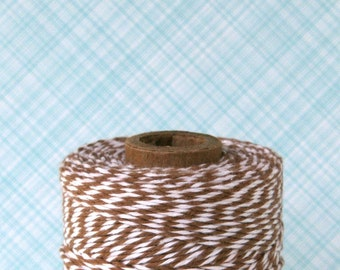 Brown Bakers Twine - Cappuccino Brown and White Striped Bakers Twine (240 yard spool)