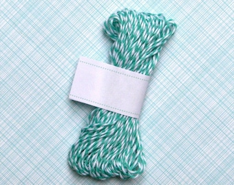 Caribbean Teal Baker's Twine (15 yards) - Teal and White Bakers Twine