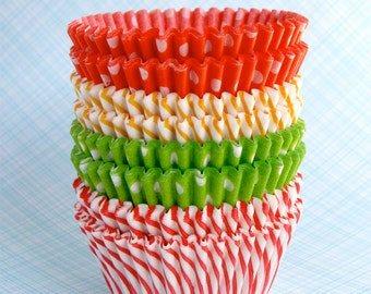 Citrus Mix Cupcake Liners Baking Cups - Polka Dots and Stripes (60)