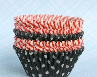 Red and Black Mix Cupcake Liners (60) - Pirate Birthday Party Baking Cups