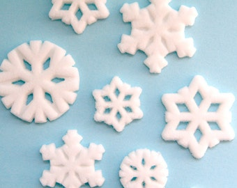 Snowflake Sugar Decorations, Snowflake Cupcake Toppers, Frozen Birthday Party, Winter Cake Decoration (12)
