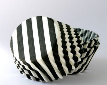 Black Barber Stripe Baking Cups, Halloween Cupcake Liners, Black Striped Liners, New Year's Cupcake Liners (50)