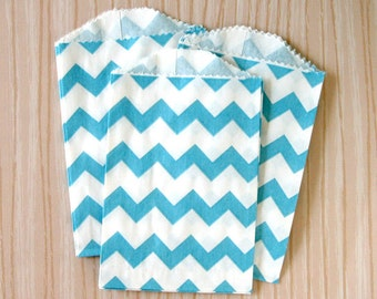 Little Blue Chevron Paper Bags (20)