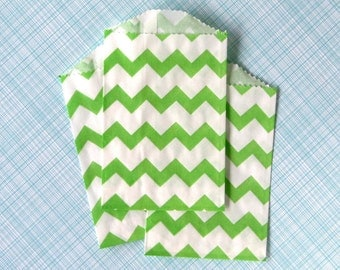 Little Green Chevron Paper Bags (20)