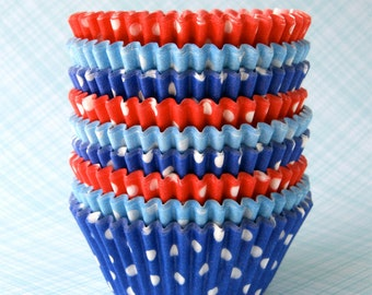 Polka Dot Mix Cupcake Liners - Light Blue, Dark Blue and Red (60)