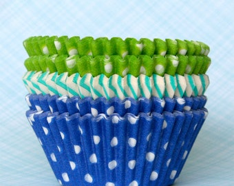 Cupcake Liners - Blue and Green Mix Baking Cups - Dot and Stripe - Lime, Aqua and Blue (60)