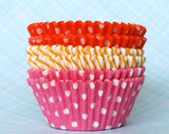 Girl Mix Cupcake Liners Baking Cups - Dot and Stripe - Pink, Orange and Yellow (60)