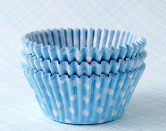 Light Blue Polka Dot Cupcake Liners (50) Pastel Blue Dot Baking Cups, Pale Blue Polka Dot Cupcake Liners