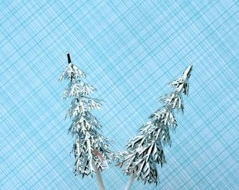 Silver Pine Tree Cupcake Picks (24)