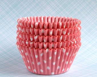 Pink Polka Dot Cupcake Liners, Light Pink Dot Baking Cups, Spring Cupcake Liners, Baby Shower Cupcake Liners (45)