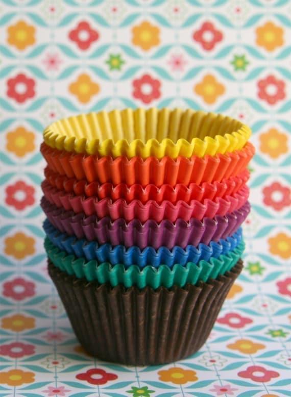 80 Rainbow Cupcake Liners