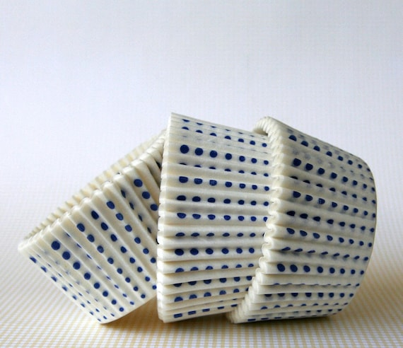 White with Blue Little Dot Cupcake Liners (45)