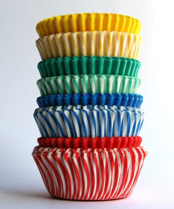 MINI Primary Color Mix Cupcake Liners (80)