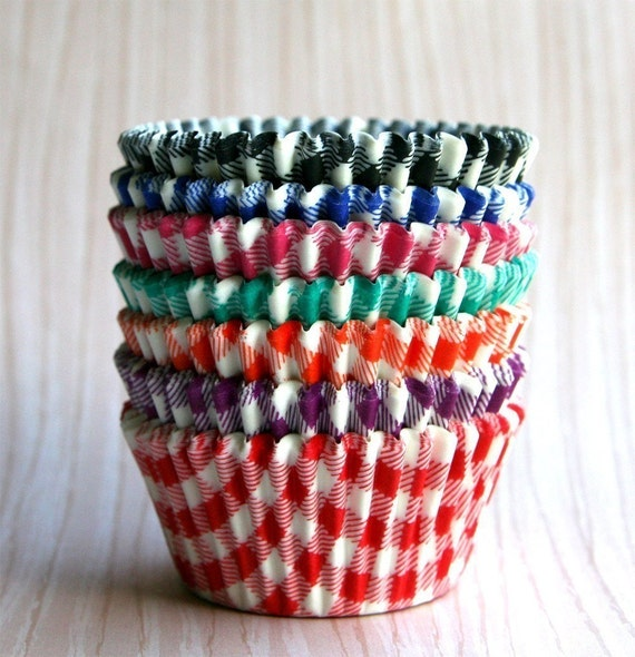 Assorted Gingham Cupcake Liners (70)