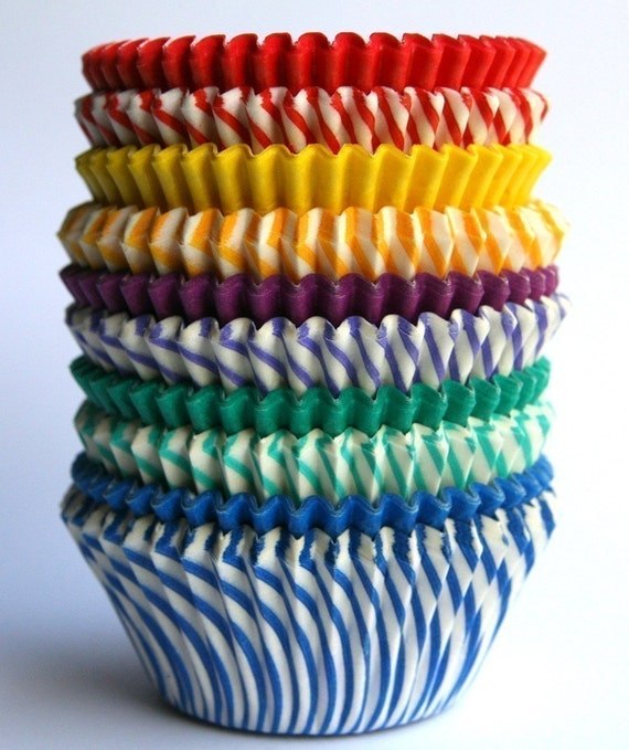 Rainbow Stripe and Solid Cupcake Liner Mix (100)