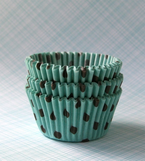 Turquoise and Brown Dot Cupcake Liners (45)