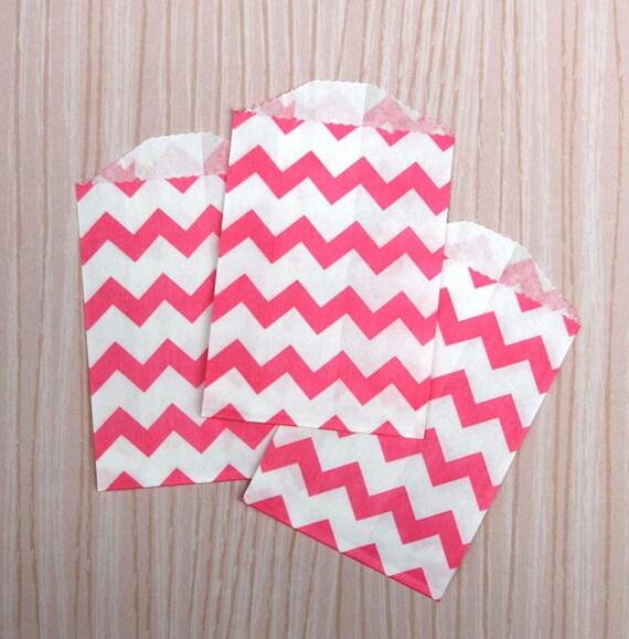 Little Pink Chevron Paper Bags (20)