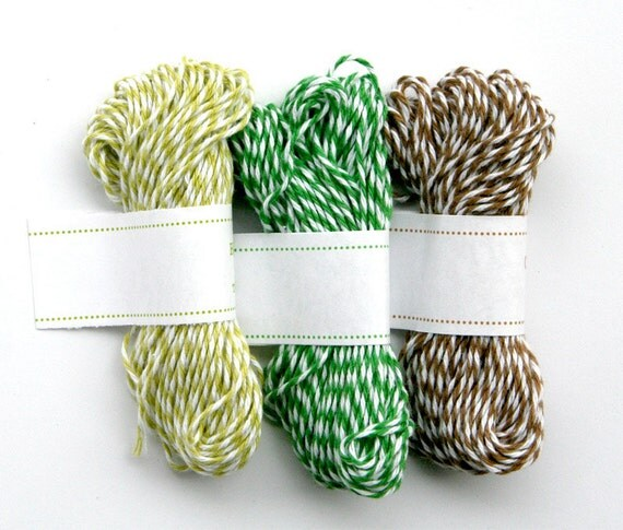 Forest Mix Baker's Twine - Honeydew Green, Peapod Green and Cappuccino Brown Bakers Twine - 3 packs (45 yards)