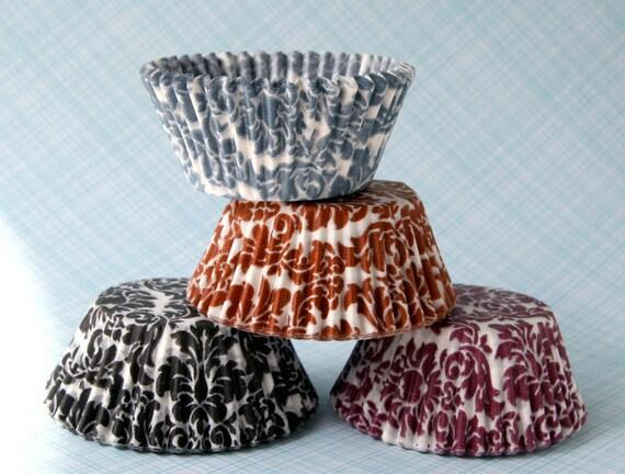 Damask Cupcake Liner Mix - Black, Gray, Purple and Orange (60)