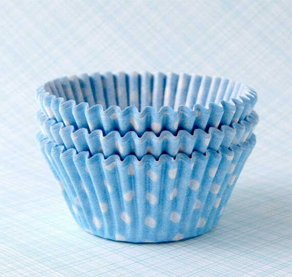 Light Blue Polka Dot Cupcake Liners (50) Pastel Blue Dot Baking Cups, Pale Blue Polka Dot Cupcake Liners