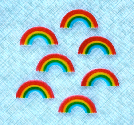 Rainbow Edible Sugar Decorations for Cupcake and Cake Decorating (24)