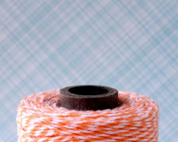 Orange Baker's Twine, Cantaloupe Orange Bakery String, Orange and White Baker's String, Party Decor (240 yards)