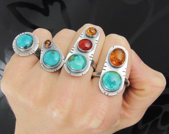 turquoise amber sterling silver ring - turquoise ring - amber ring - sterling silver ring - unique ring - southwest - boho ring
