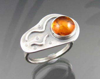 amber bird sterling silver silver ring - amber gemstone ring - bird ring - flight - gemstone ring