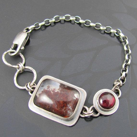 chunky garnet and red moss agate bracelet - sterling silver - hallmark