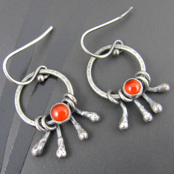 40% OFF! carnelian sterling silver earrings - carnelian earrings - sterling silver earrings - gemstone earrings