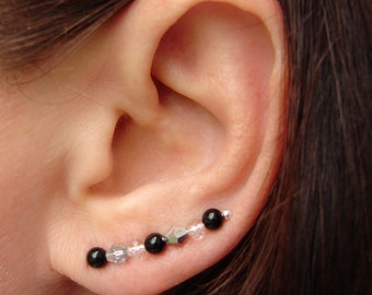 Pair of Earring Pins, Black Onyx and Faceted Clear Crystal with Vitriol Bicone Crystal - Pair Earrings, Pierced Ear Cuffs, Earpins
