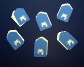 Set of Six, Pretty Royal Blue and Cream Cardstock, Two Piece Cut Outs with Cute Crabs