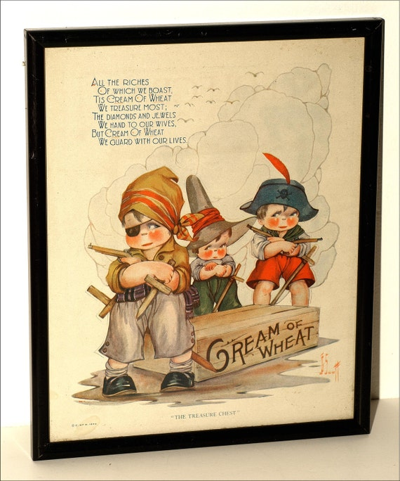 Cream of Wheat Print from 1924 in a New Black Frame, 'The Treasure Chest,' Great for your Child's Room or Playroom Decor