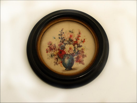 Lovely, Pair, Vintage Flowers in Vases, Gorgeous Round, Wood Frames with Glass