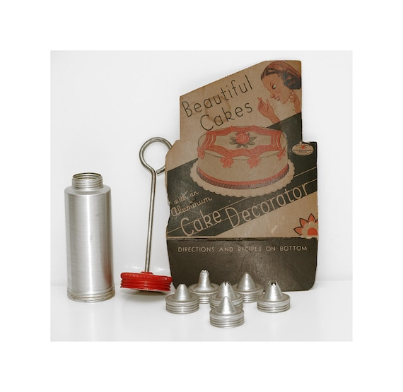 Vintage, Seven Piece, Aluminum Cake Decorator Set, in Great Shape, Great Gift for a Baker, Lovely Decorative Piece for Vintage Kitchen