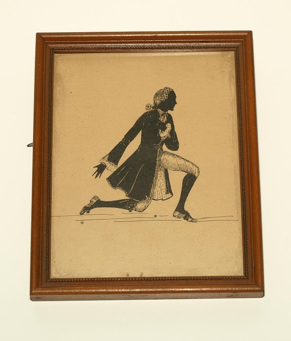 Lovely Silhouette Lord and Lady in Colonial Era Garb, Reproductions on Paper in Wooden Frames
