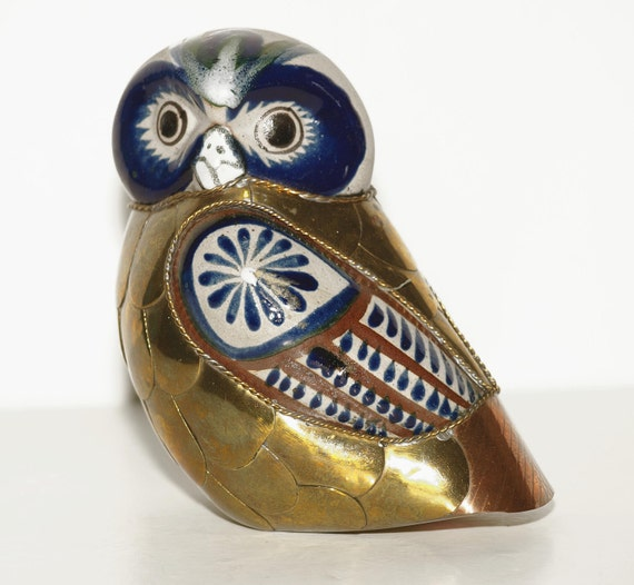 Amazing, Folk Art Piece, Metal and Ceramic, Owl, Woodlands, Would Make a Wonderful Holiday Gift - FREE SHIPPING within the continental US