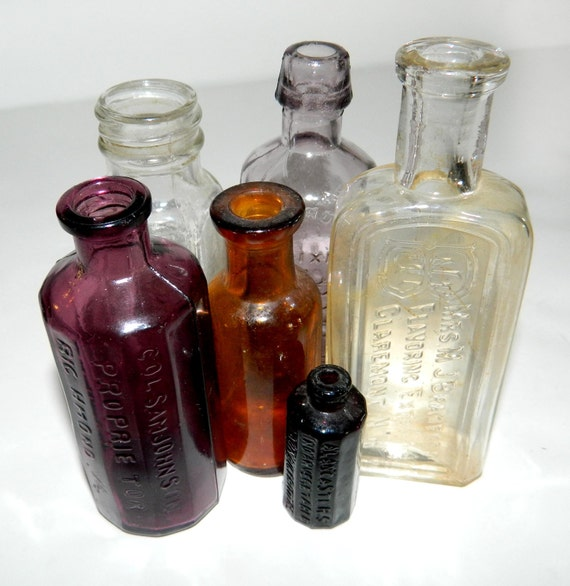 Terrific Collection of Six, Apothecary, Spice, Elixir, Glass Bottles in Varying Shapes and Sizes, Mostly Miniature