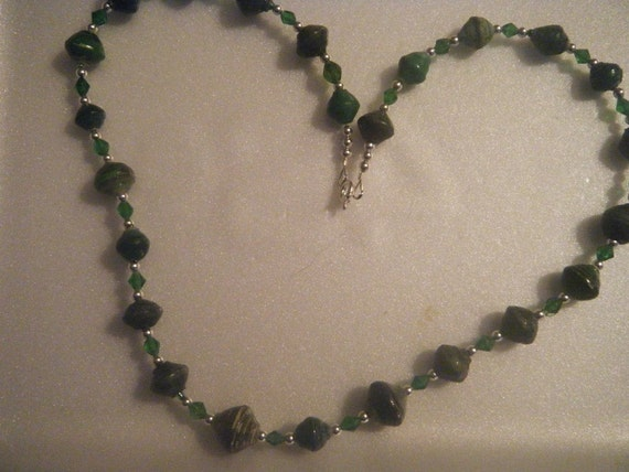 African hand rolled paper bead necklace - green