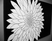 large modern black and white chrysanthemum painting-custom colors and sizes available