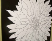 huge modern chrysanthemum flower painting black white and silver- custom colors and sizes available