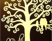 "Huge modern tree painting- ""Curly Tree II"" - personalized name monogram wedding- brown cream white"