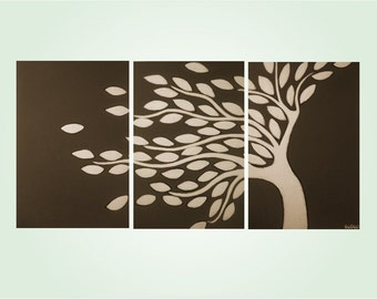 huge modern blowing tree triptych painting- brown and cream- custom colors and sizes available